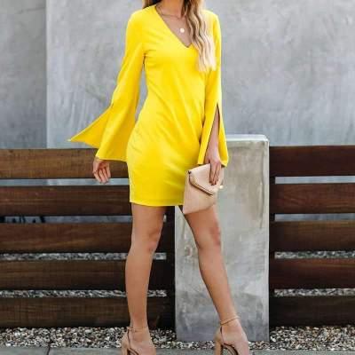 Pure V neck Long sleeve Shift Dresses