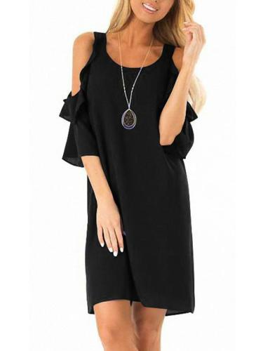 Women Chiffon Fashion Off Shoulder Plain Shift Dresses