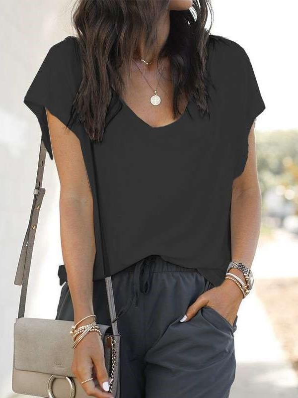Casual Pure V neck Short sleeve T-Shirts