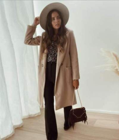 Fashion Pure Lapel Long sleeve Trench Coats