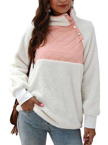 Cute suede fashion long sleeve high neck women Sweatshirts