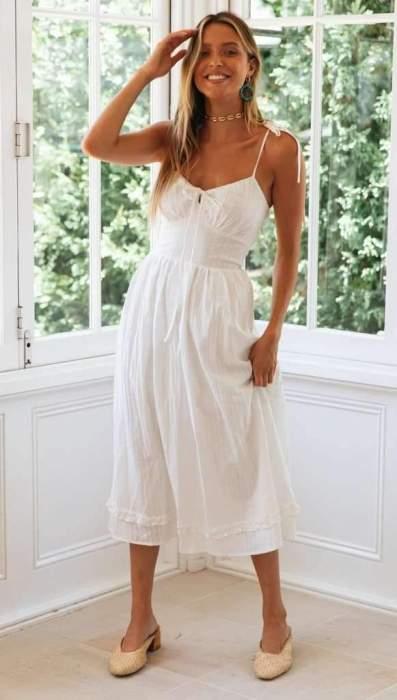 Fashion Sexy Pure Lacing V neck Vest Maxi Dresses