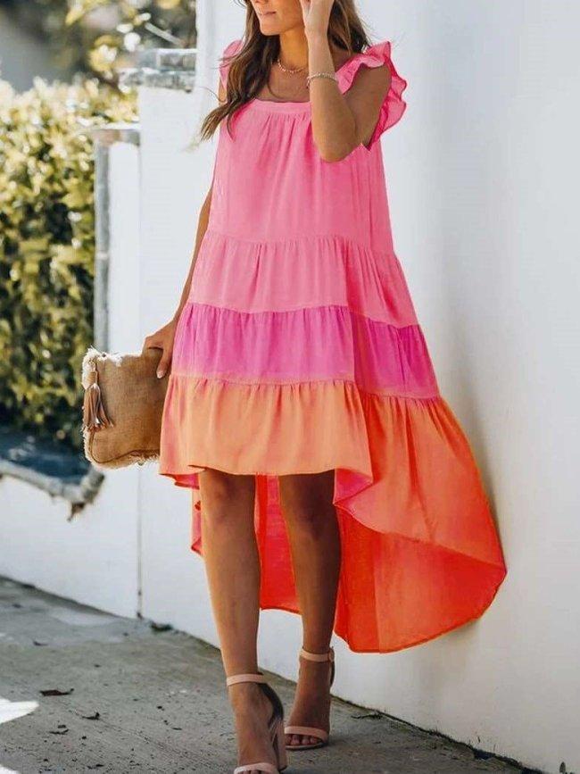 Casual Loose Gored Gradient Sleeveless Square collar Falbala Irregular Maxi Dresses