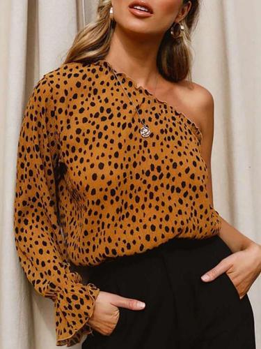 Fashion Sext Leopard print Single shoulder Long sleeve T-Shirts