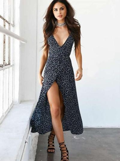 Fashion V neck Print Vest Skater Dresses