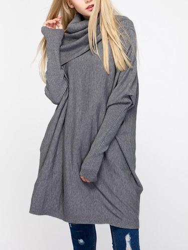 Loose High Collar Batwing Sleeve Sweater