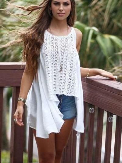 Casual Lace Hollow out Sleeveless Round neck Irregular Blouses