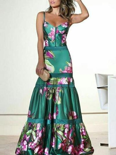 Sexy strappy Long Big Flower Printed V Neck evening dress