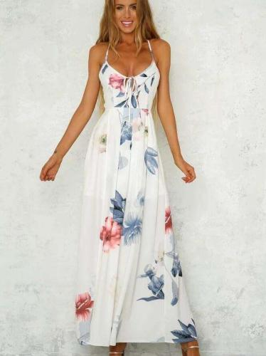 Fashion Print V neck Vest Backless Maxi Dresses