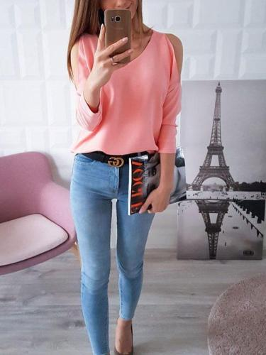 Women seet pink off shoulder three quarter sleeve T-shirts