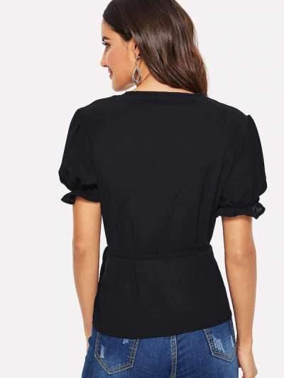 Pure V neck Short sleeve Lacing T-Shirts