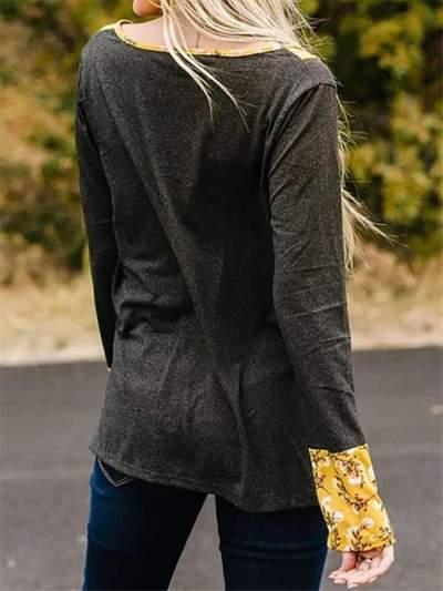 Fashion Gored Round neck Knit T-Shirts
