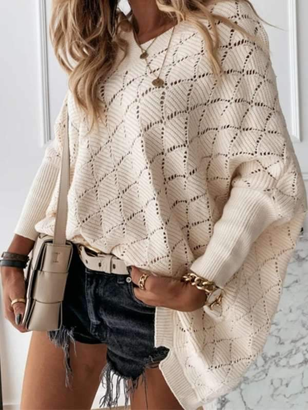 V-neck solid hollowed-out  bat sleeve loose long knit sweaters