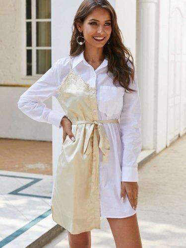 Fadhion Gored Long sleeve Lapel Lacing Shift Dresses