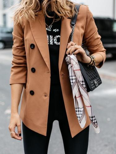 Chic long sleeves double-breasted buttons women long blazers