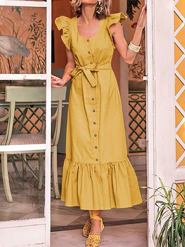 Chic women U-neck scalloped sleeves Long maxi dresses