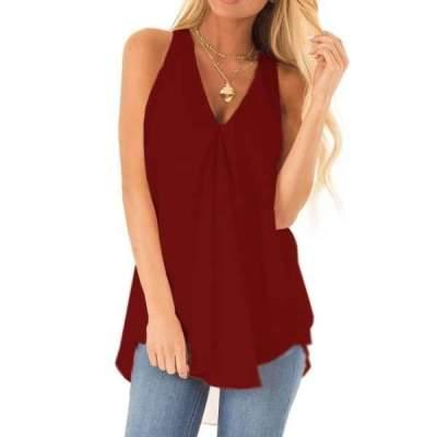 Pure V neck Sleeveless Irregular T-Shirts