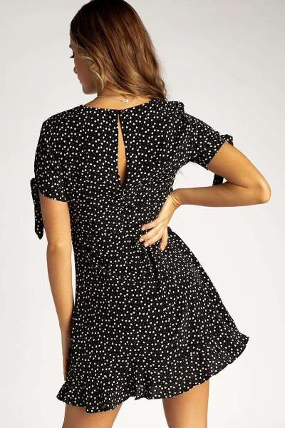 Fashion Round neck Point print Short sleeve Skater Dresses