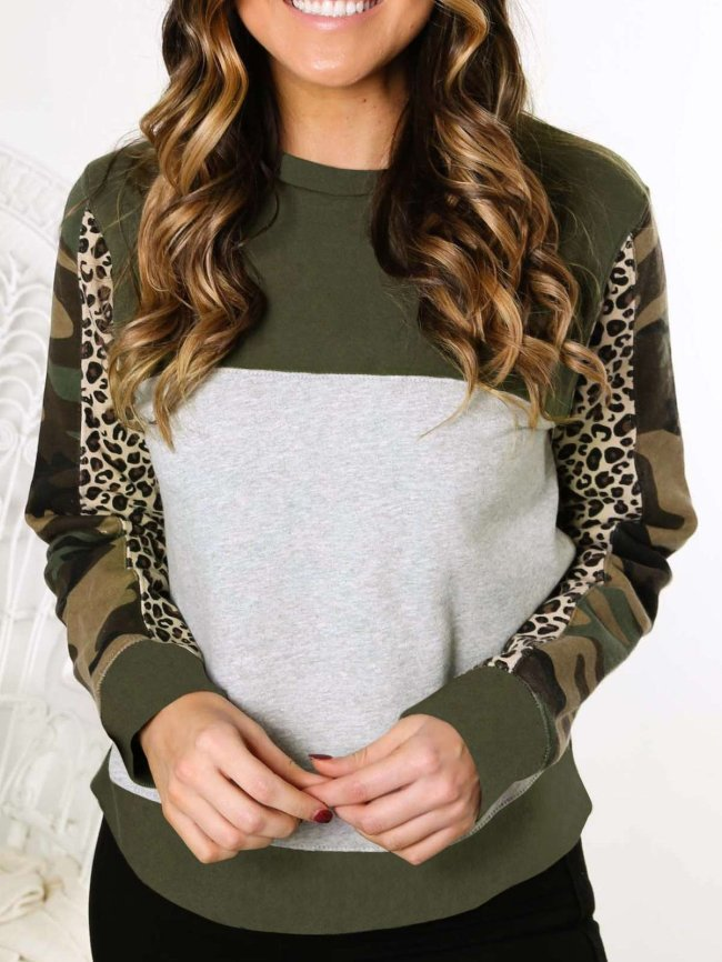 Sexy Leopard print Gored Long sleeve Sweatshirts