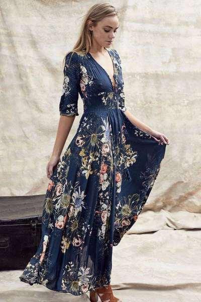 Fashion Print V neck Lacing Half sleeve Maxi Dresses