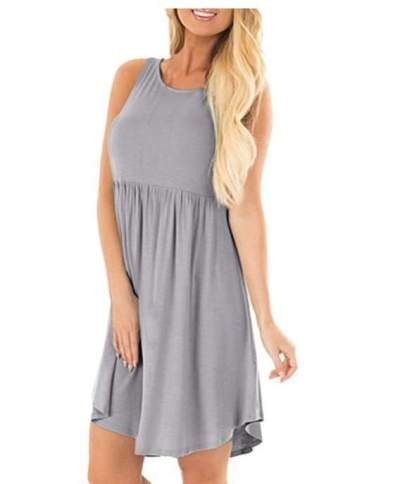 Casual Pure Round neck Vest Gored Sleeveless Shift Dresses