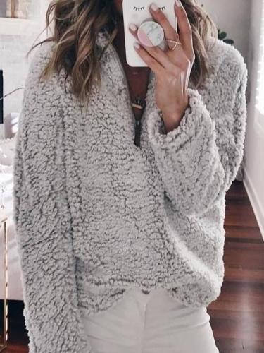 Suede Long Sleeve Half Front Zip Neckline Fashion Sweatshirts