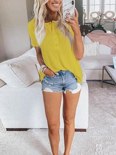 Casual plain summer round neck short sleeve T-shirts