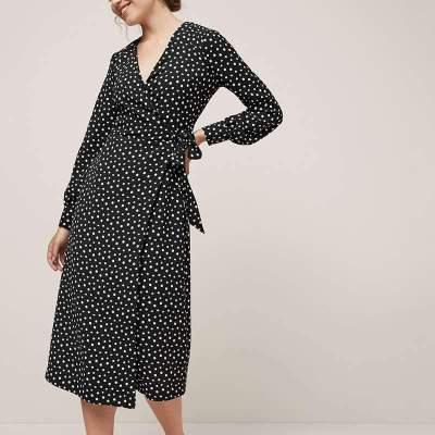 Point print V neck Long sleeve Maxi Dresses