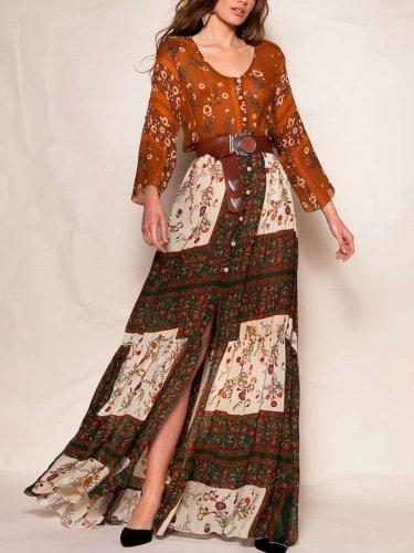 Casual Print Long sleeve V neck Vacation Dresses