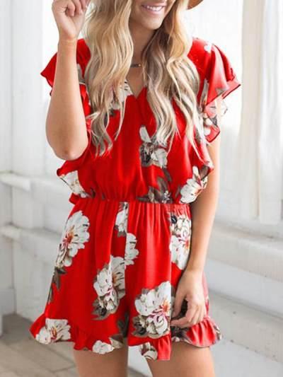 Fashionable printed v-neck ruffled jumpsuits