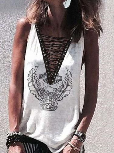 Casual Print V neck Lacing Vests