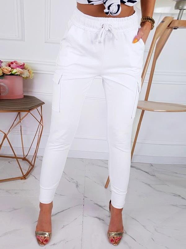 Casual High waist women slim plain long pants