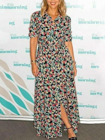 Fashion Print Lacing Lapel Long sleeve Maxi Dresses