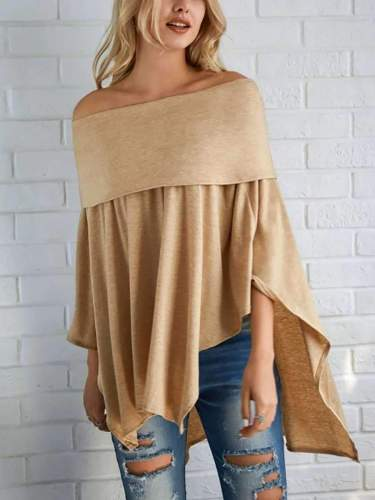 Fashion Off shoulder Irregular Drape T-Shirts