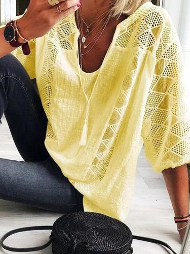 Lace patchwork U neck three quarter sleeve T-shirts