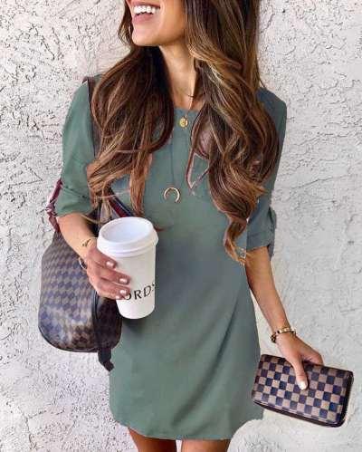 Fashion Pure Round neck Half sleeve Shift Dresses