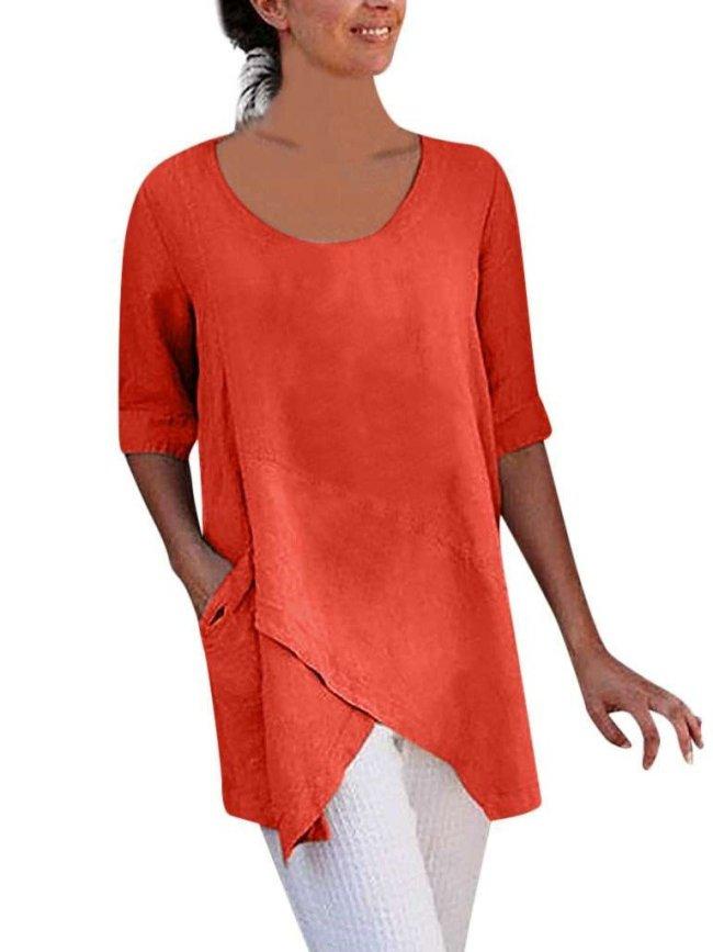 Fashion Pure Round neck Half sleeve Irregular T-Shirts
