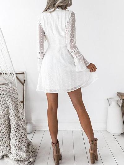 Elegant deep V neck lace point flared sleeve skater dresses