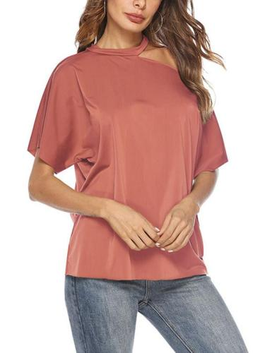 Band Neck Short sleeves one off shoulder woman t-shirts