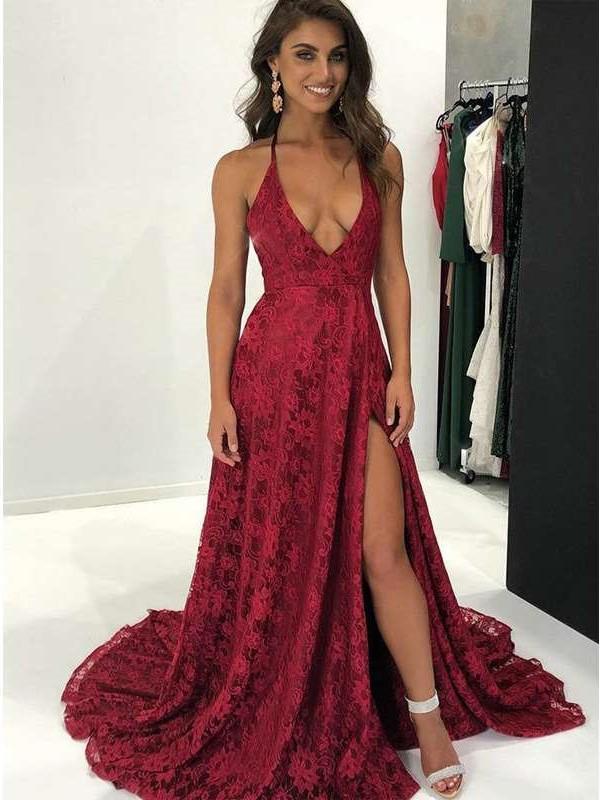 Sexy Lace V neck Vest Evening Dresses