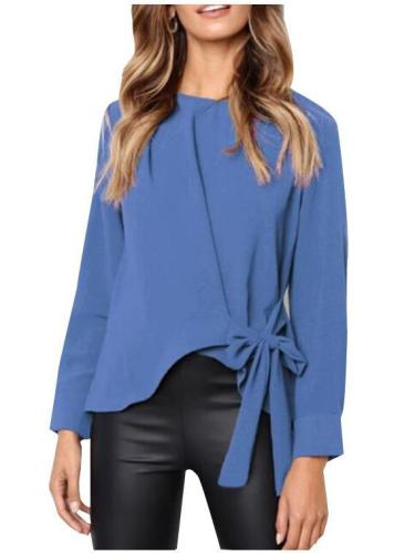 Long-Sleeved Button Collar Blouses