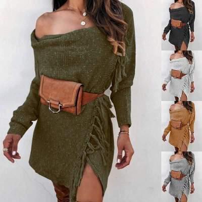 Fashion Pure One shoulder Knit Long sleeve Macrame Sweaters