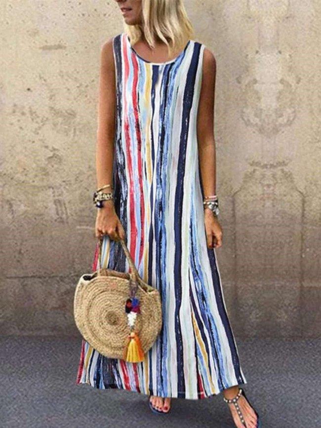 Casual Stripe print Round neck Sleeveless Maxi Dresses