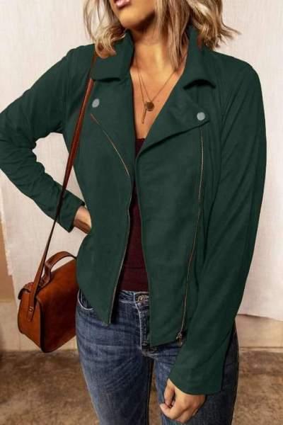 Fashion Pure Lapel Long sleeve Zipper Jacket