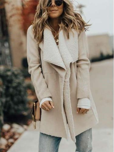 Fashion Gored Plush Lapel Coats