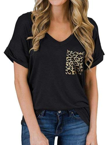 Fashion Leopard print Short sleeve V neck T-Shirts