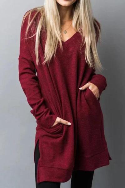 Plain v neck long sleeve with pocket Shift dresses