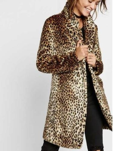 Plush Leopard print Stand collar Coats