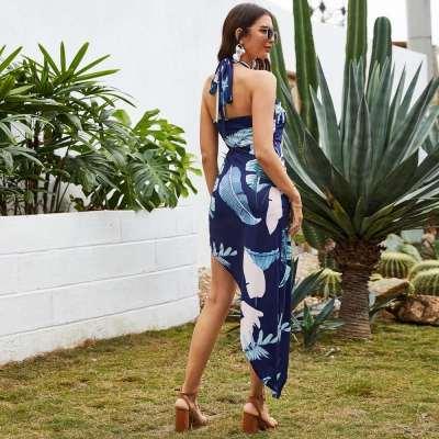 Fashion Casual Print Halter Vent Bodycon Dresses