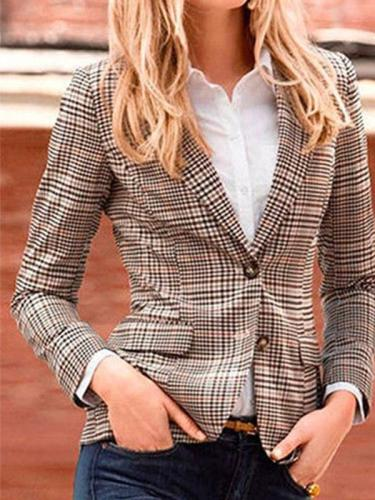 Hot Grid Woman Autumn Fashion Blazer